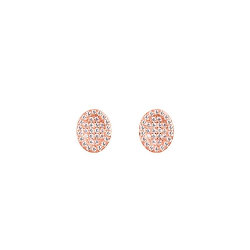 """Pendientes con forma oval de plata doradas en oro rosa y circonitas, """"Tolerancia"""" de Luxenter."""