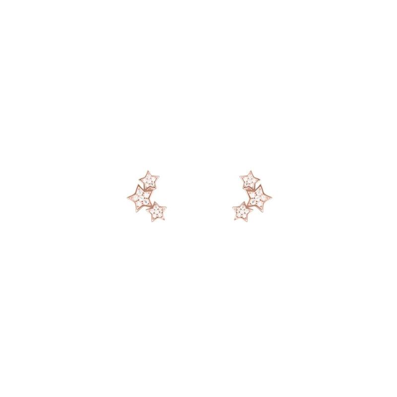 Pendientes de plata dorada en oro rosé, con forma de estrella y circonitas, de Luxenter.