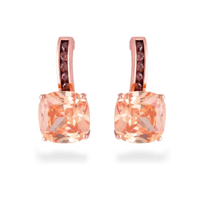 """Pendientes de plata dorados en oro rosé, con piedras en color champang, """"Xephass"""" de Luxenter."""