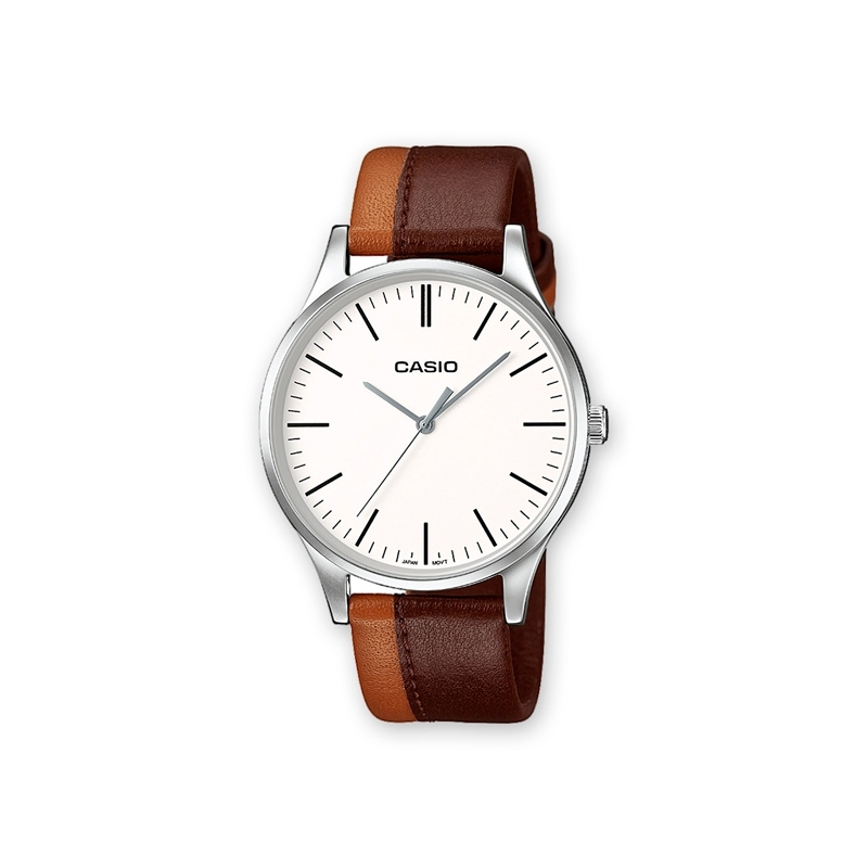 Reloj Casio Collection para hombre con correa marron doble y esfera blanca MTP-E133L-5EEF.