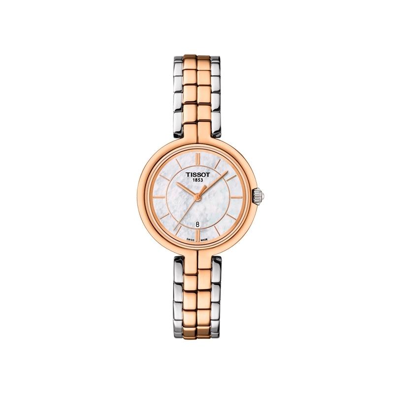 Reloj Tissot de mujer Flamingo, en acero parcialmente dorado, y esfera de nácar T0942102211100.