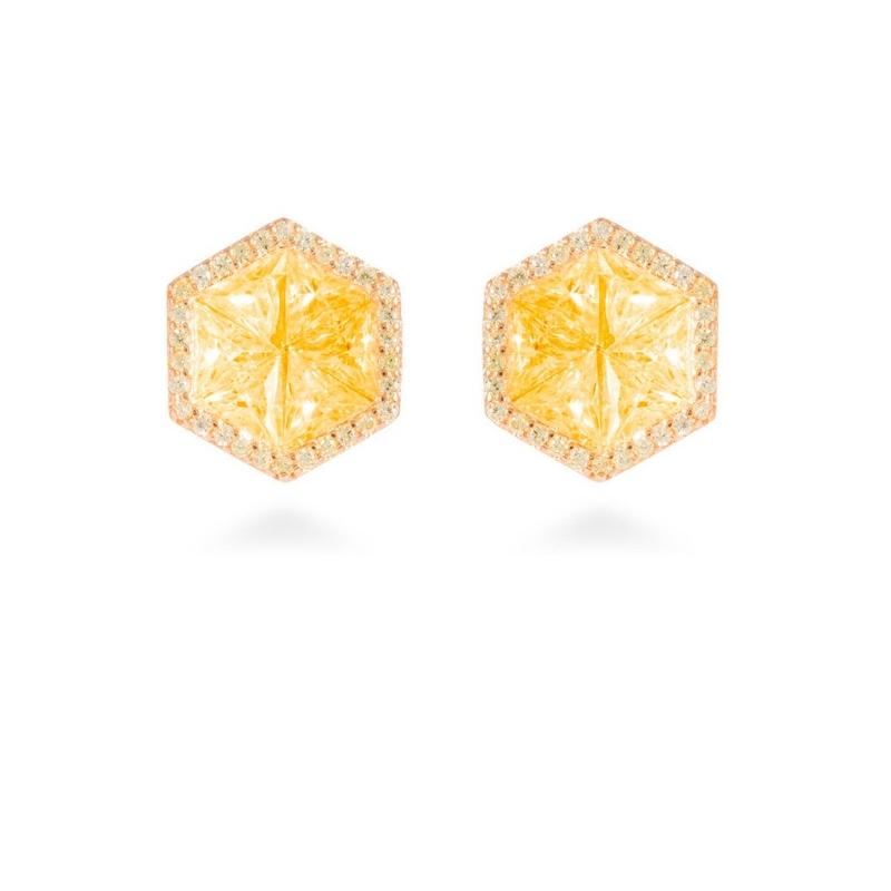 """Pendientes de plata dorados de oro amarillo, con circonitas, """"Flathome"""" de Luxenter."""