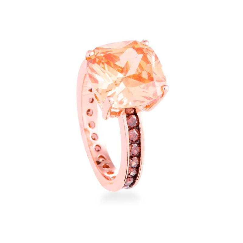 """Anillo de plata dorada en oro rosado con piedras en champang, """"Xephass"""" de Luxenter."""