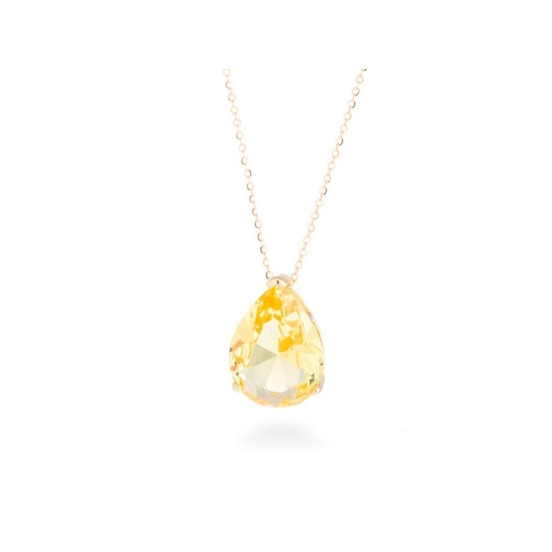 """Colgante en plata dorada en oro amarillo con circonita imitando a topacio, """"Deelah"""" de Luxenter."""