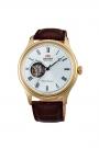 Reloj Orient automático de hombre, dorado con ventana a máquina y esfera marrón, AG00001T.