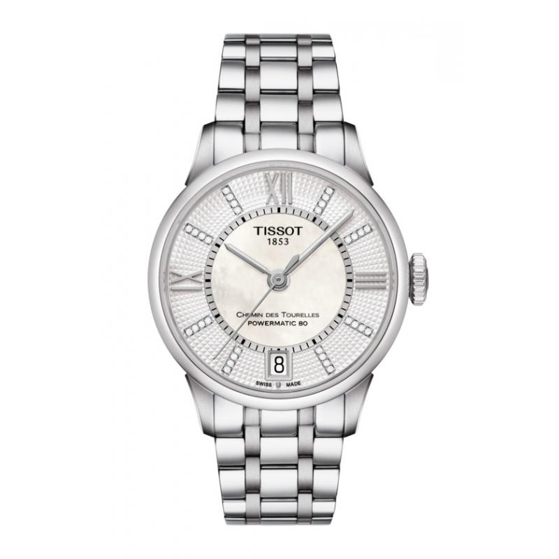 """Reloj Tissot de mujer automático """"Chemin des Tourelles"""", con nácar y diamantes en esfera T0992071111600."""