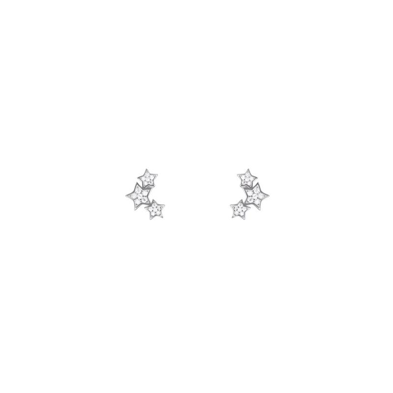 """Pendientes de plata rodiada con forma de estrella y circonitas, """"Familia"""" de Luxenter."""