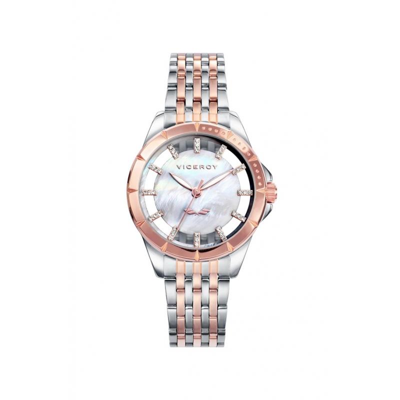 """Reloj Viceroy edición """"Antonio Banderas"""" de mujer, con esfera de nácar, circonitas y bicolor, 40934-07."""