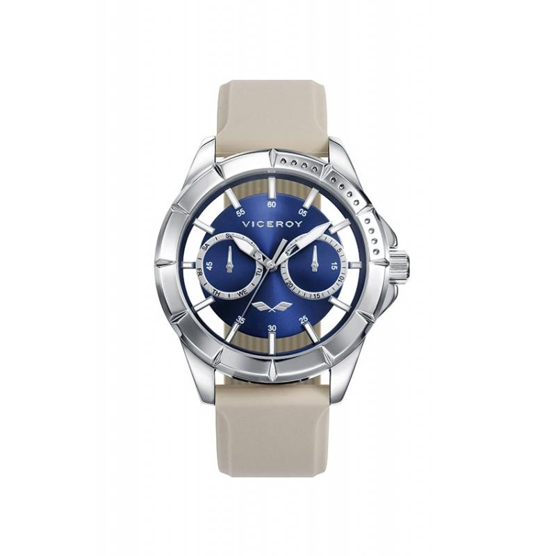 """Reloj Viceroy """"Antonio Banderas"""" multifunción, con esfera azul y correa de cauhco clara, 401049-39."""