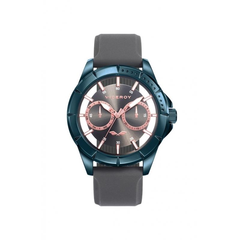 """Reloj Viceroy """"Antonio Banderas"""" chapado en azul, detalles dorados, multifunción y correa de silicona gris, 401049-19."""