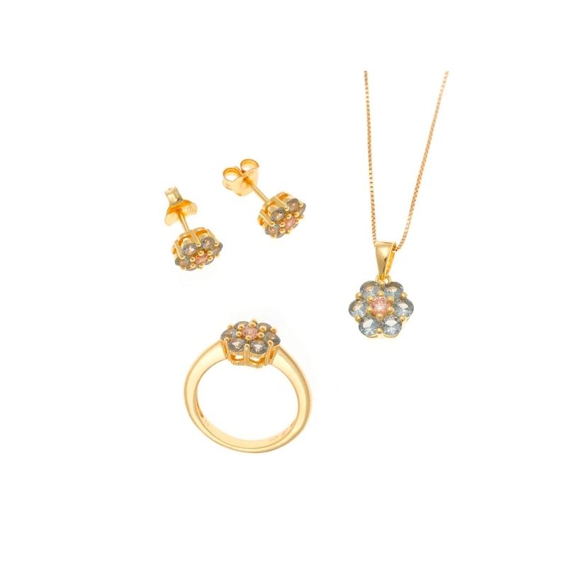 Conjunto de pendientes, colgante y anillo con forma de flor, en plata y piedras Salvatore Plata.