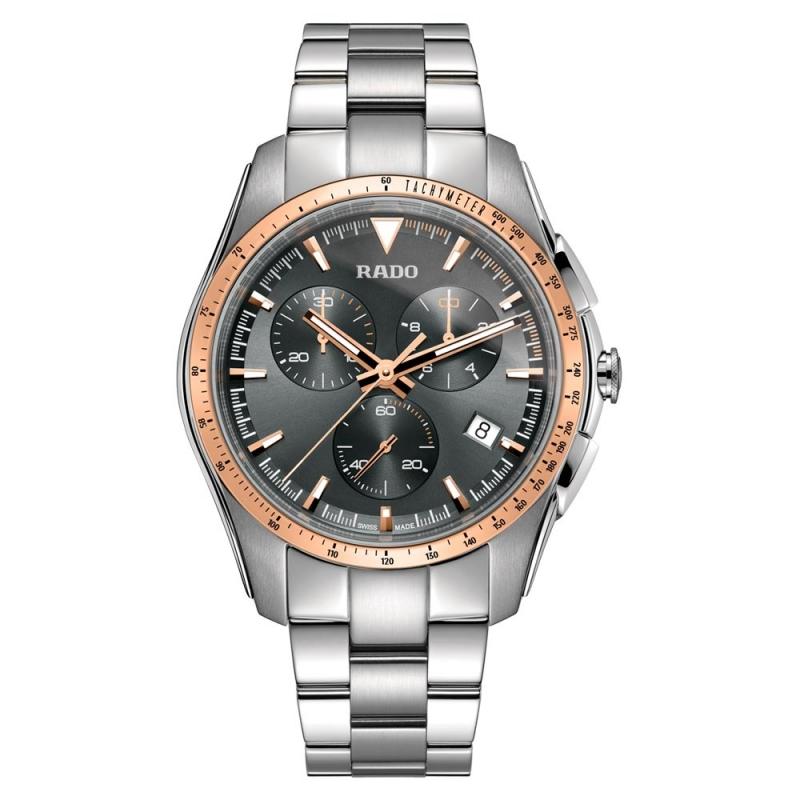 Reloj Rado para hombre HyperChrome en acero y cerámica gris, con cronógrafo y detalles dorados R32259163.