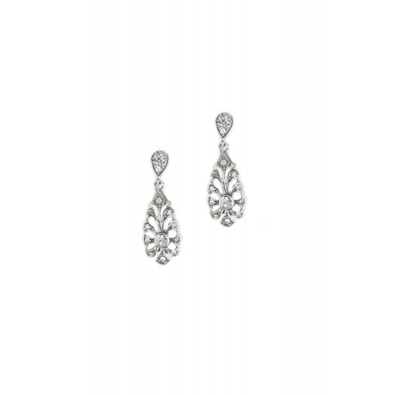 Pendientes de estilo isabelino en plata con piedras Swarovski®, de Antara.