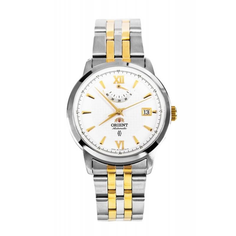 Reloj Orient automático para caballero, en acero bicolor con reserva de marcha, EJ02001W.