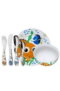 """Conjunto de cubiertos en acero y vajilla """"Nemo"""" de 6 piezas, para niños/niñas, de WMF."""