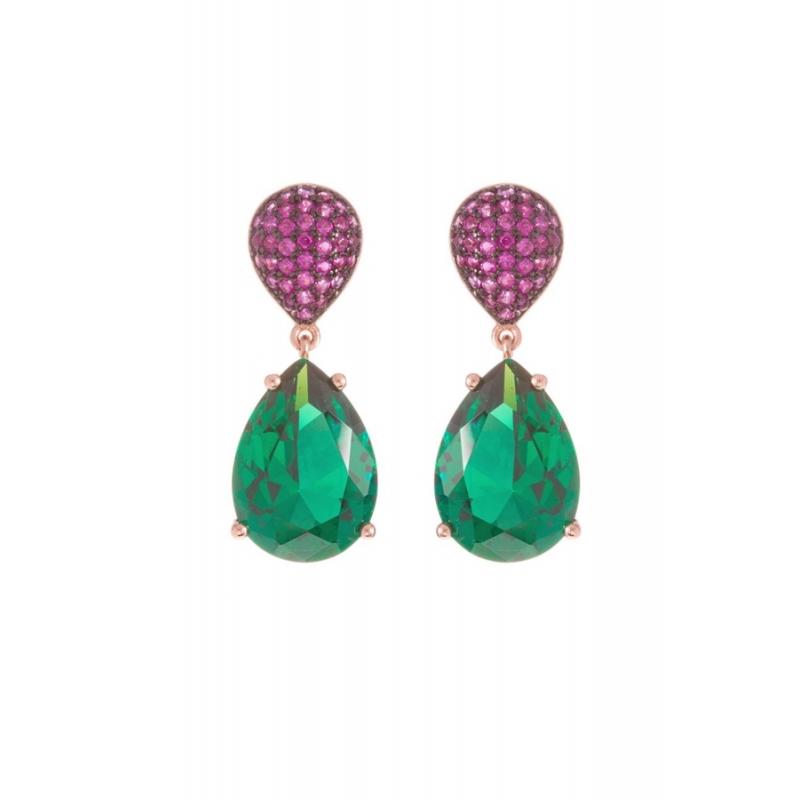 """Pendientes largos de plata dorada en oro rosa y piedras imitando a esmeraldas y rubíes, """"Gimanug"""" de Luxenter."""