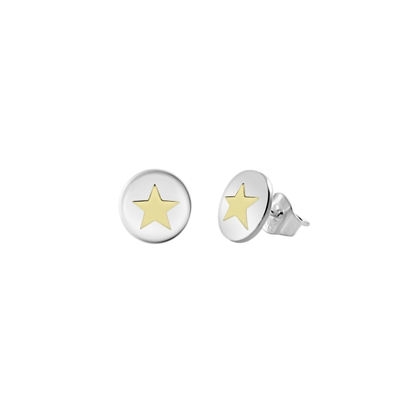 Pendientes redondos de plata, con estrella de oro amarillo, de Joyería Hago.
