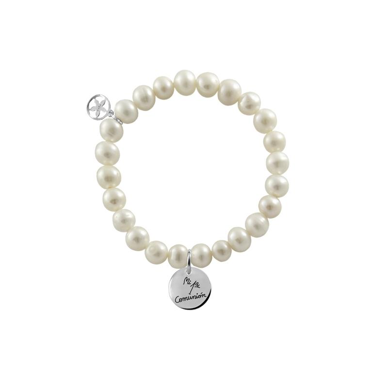 """Pulsera de perlas para niña de comunión, con medalla de plata, """"Slim"""" de Joyería Hago."""