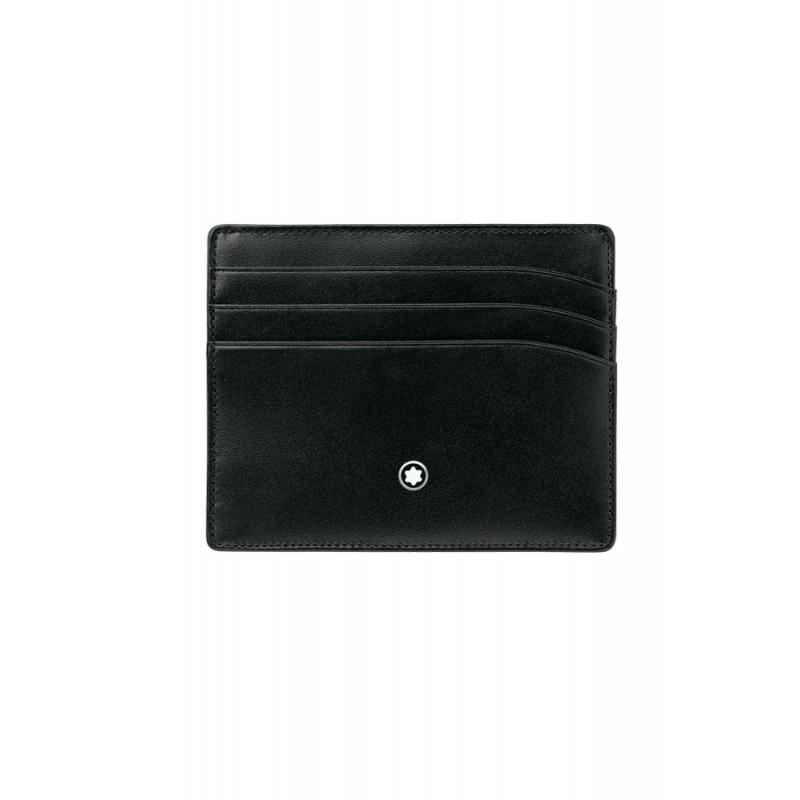 """Portatarjetas de piel negra Montblanc """"Meisterstück"""", para 6 tarjetas ref. 106653."""