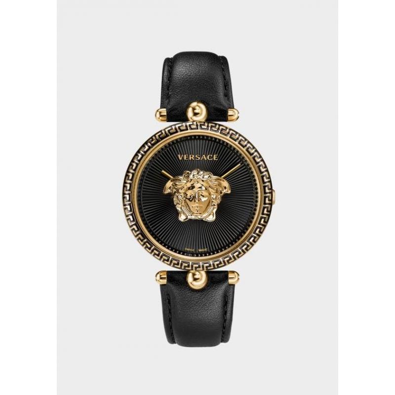 Reloj Versace Palazzo para mujer, dorado en oro amarillo y correa negra VCO02 0017.