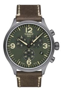 """Reloj Tissot de hombre """"Chrono XL"""" con caja gris, esfera verde y correa piel marrón T1166173609700."""