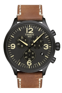 "Reloj Tissot de hombre ""Chrono XL"" con cronógrafo, caja negra y correa marrón T1166173605700."
