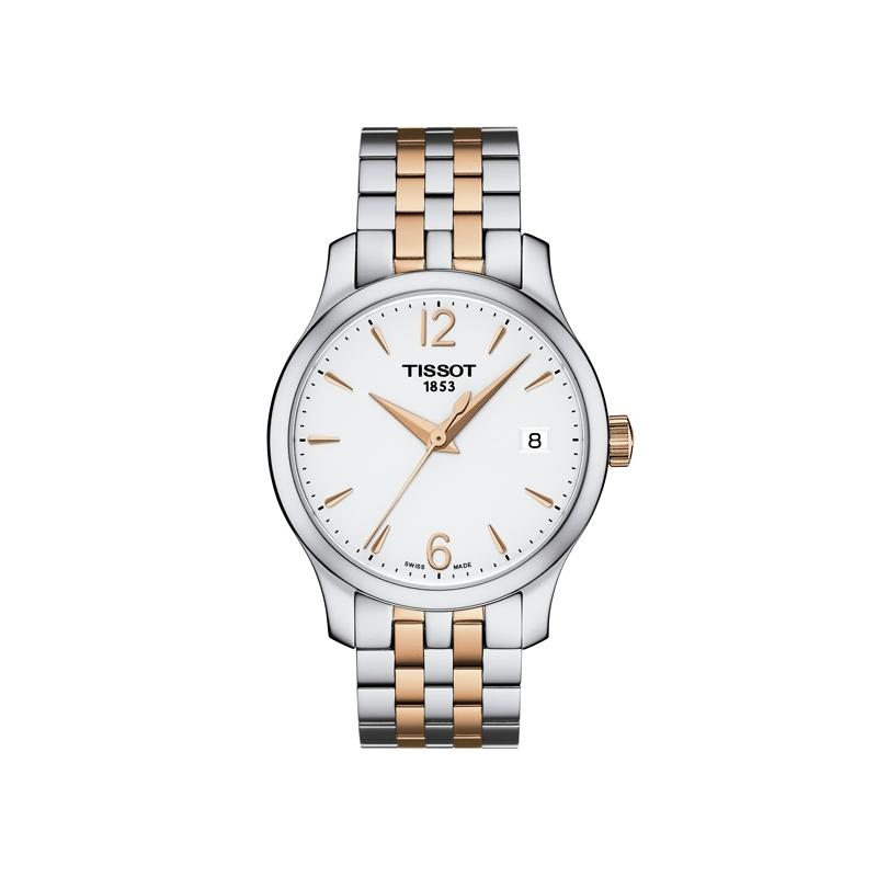 Reloj Tissot Tradiction para mujer, en acero bicolor con dorado en rosa T0632102203701.