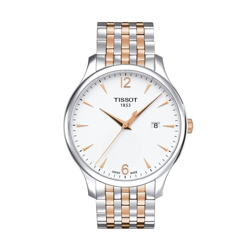 Reloj Tissot Tradiction para hombre, en acero bicolor de oro rosado T0636102203701.