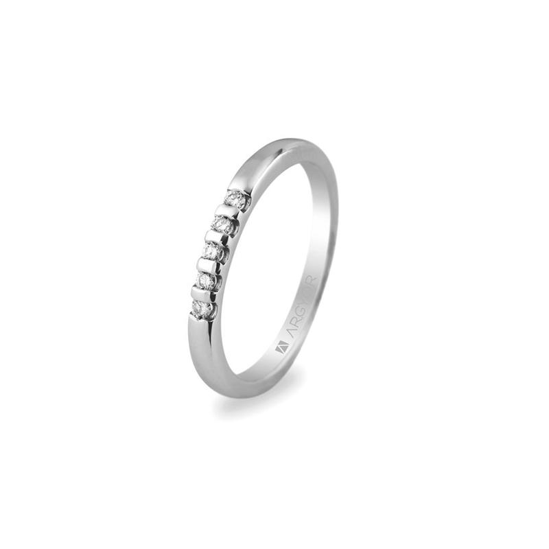 Anillo de compromiso con 5 diamantes, en oro blanco para mujer, de Argyor.