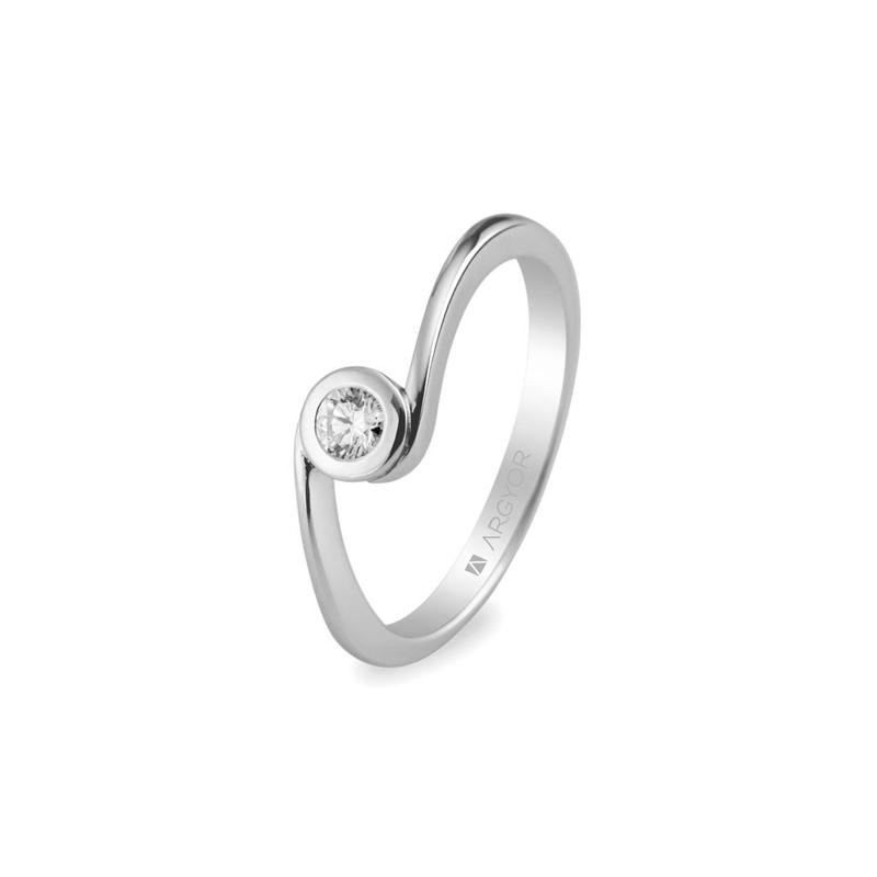 Solitario de oro blanco para mujer, con diamante de 0,10 quilates, de Argyor.