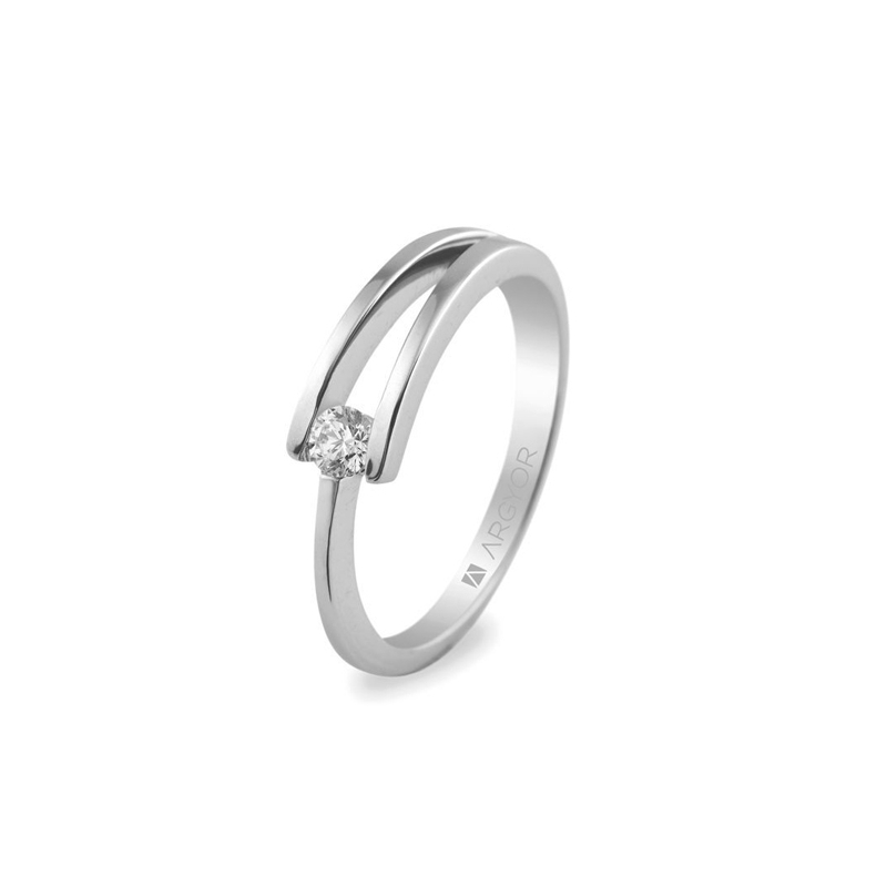 Sortija de compromiso con diamante, de oro blanco, para novias, de Argyor.