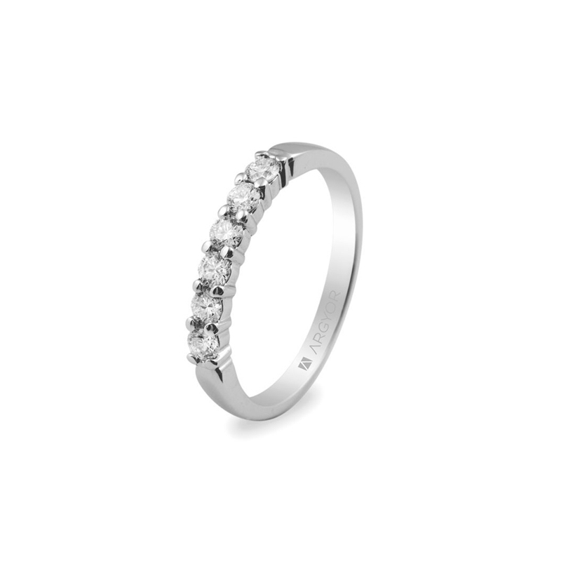 Media alianza de oro blanco con 6 diamantes, para novia, de Argyor.