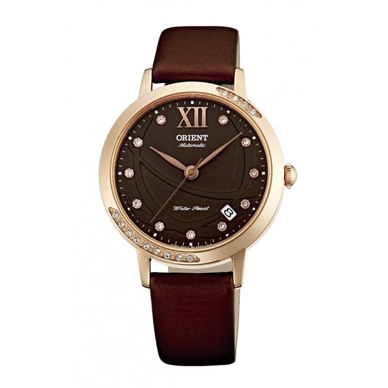 Reloj Orient automático de mujer, con circonitas, combinando dorado y color marrón ER2H002T.