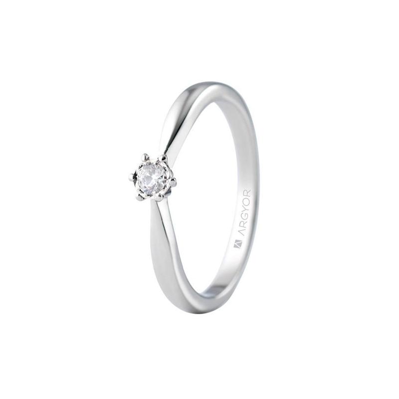Solitario de oro blanco para mujer, con diamante de 0,08 quilates, de Argyor.