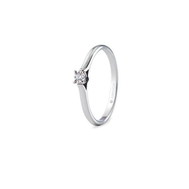 Solitario de oro blanco con diamante de 0,05 quilates, para mujer, de Argyor.