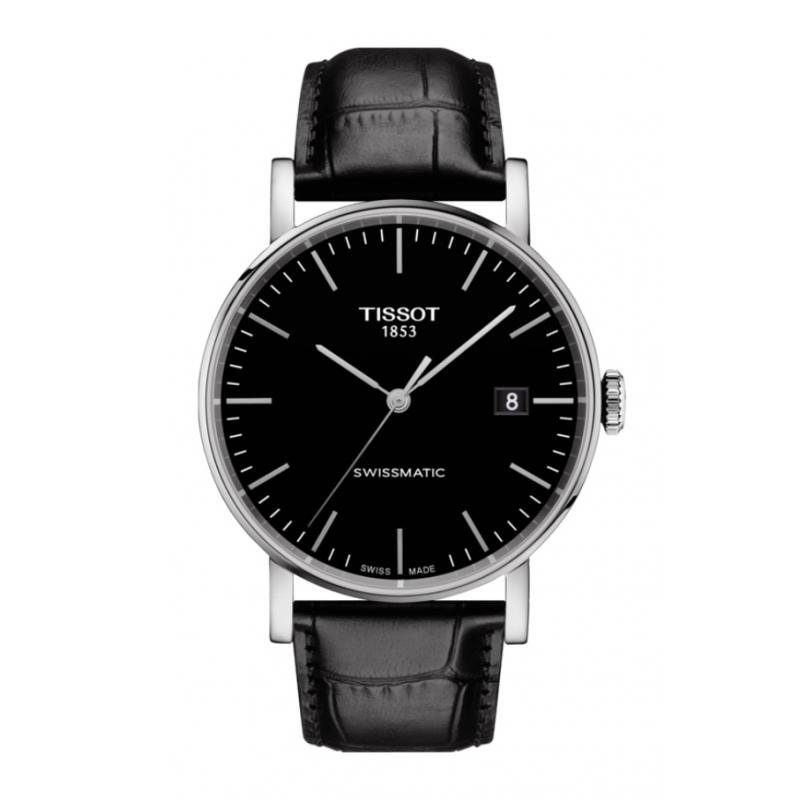 "Reloj Tissot Everytime con mecanismo """"Swissmatic"" para hombre con correa negra, T1094071605100."