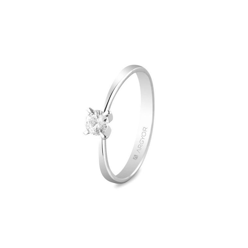 Solitario de oro blanco con diamante de 0,25 quilates, para mujer, de Argyor.