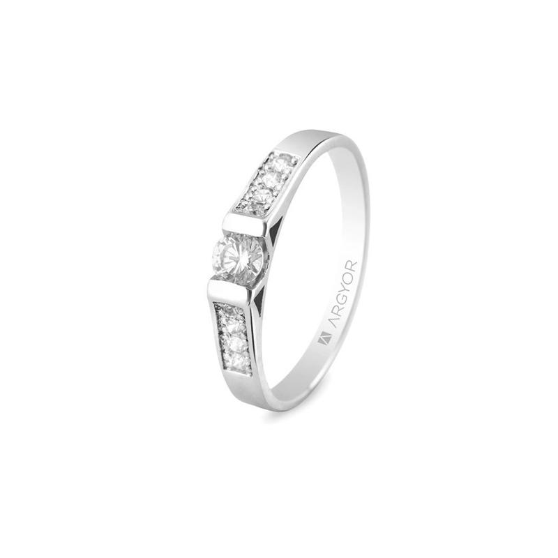 Anillo de oro blanco con diamantes para mujer, en total de 0,28 ct., de Argyor Compromiso.