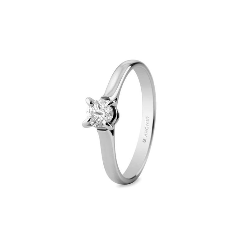 Solitario de oro blanco con diamante de 0,34 quilates, para mujer, de Argyor Compromiso.