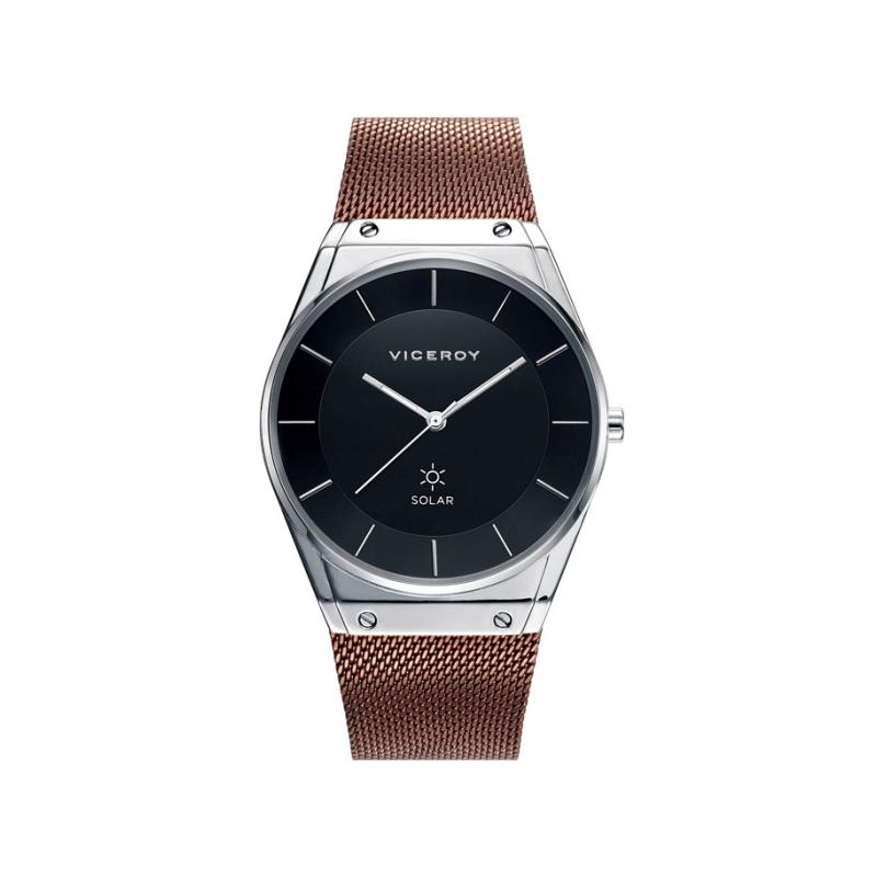 """Reloj Viceroy solar para hombre """"Air"""" con esfera negra y malla marrón, ref. 42321-57."""