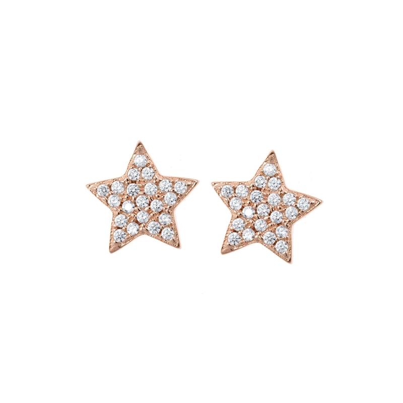 Pendientes de plata con forma de estrellas, chapados en oro rosa y circinitas, de Salvatore Plata.