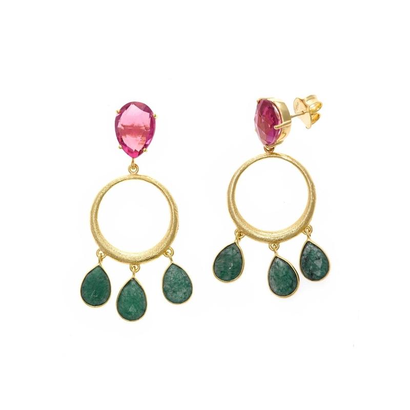 Pendientes de plata dorados con turmalina rosa y aventurina verde, de Salvatore Plata.