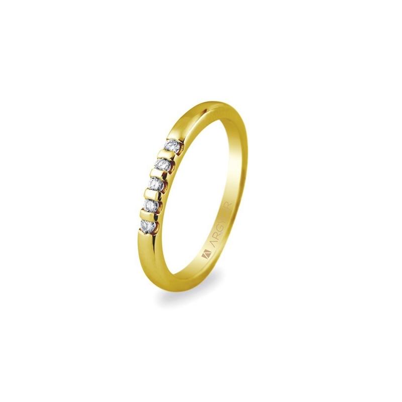 Anillo de oro con 5 diamantes, peso total de 0,10 ct., de Argyor Compromiso.