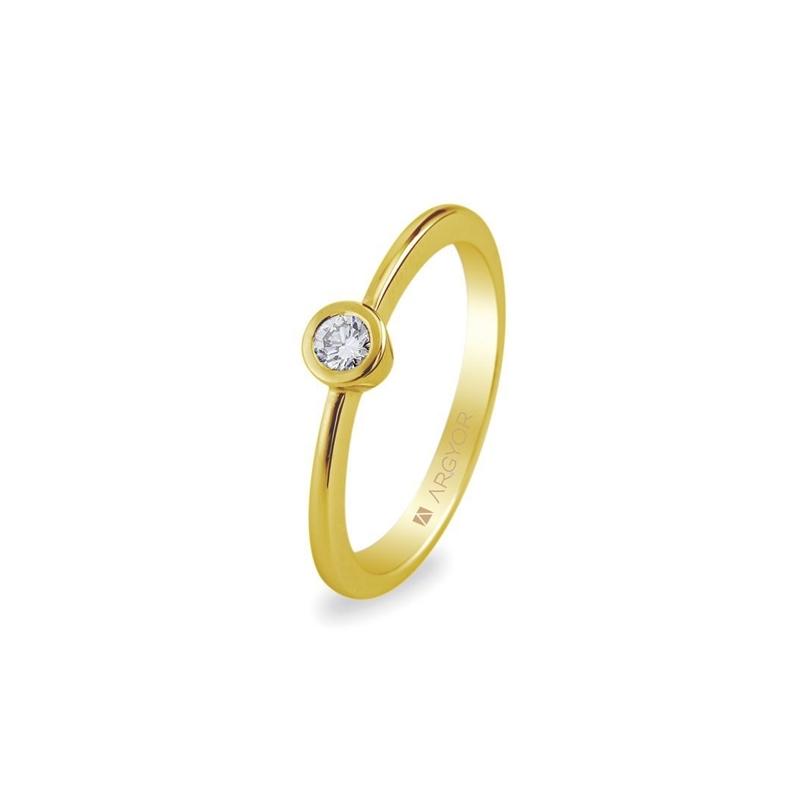 Solitario de oro amarillo con circonita de estilo clásico, de Argyor Compromiso.