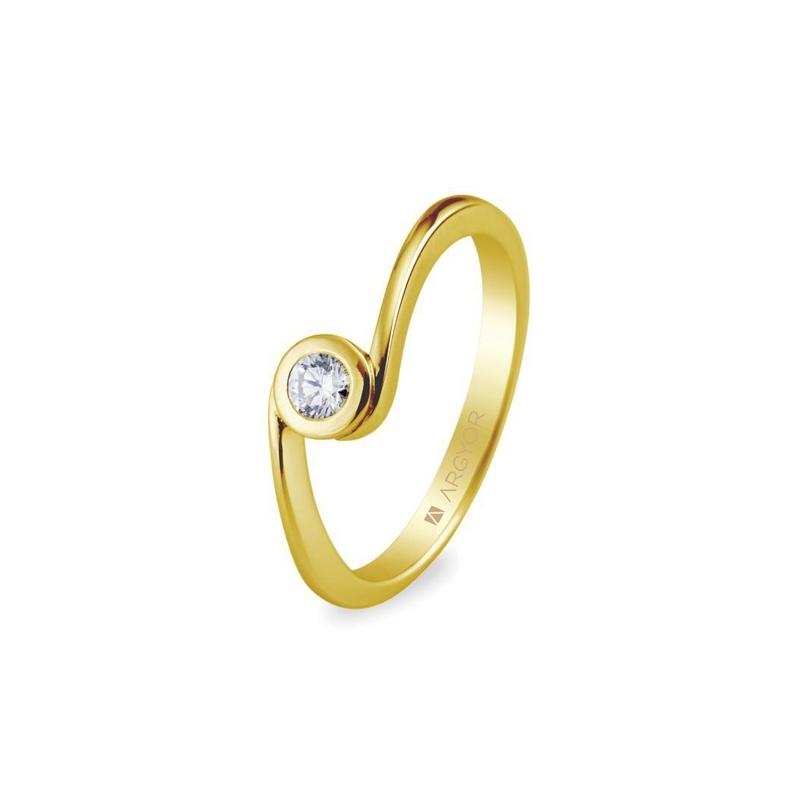 Solitario de oro amarillo con circonita, de diseño, dentro de Argyor Compromiso.