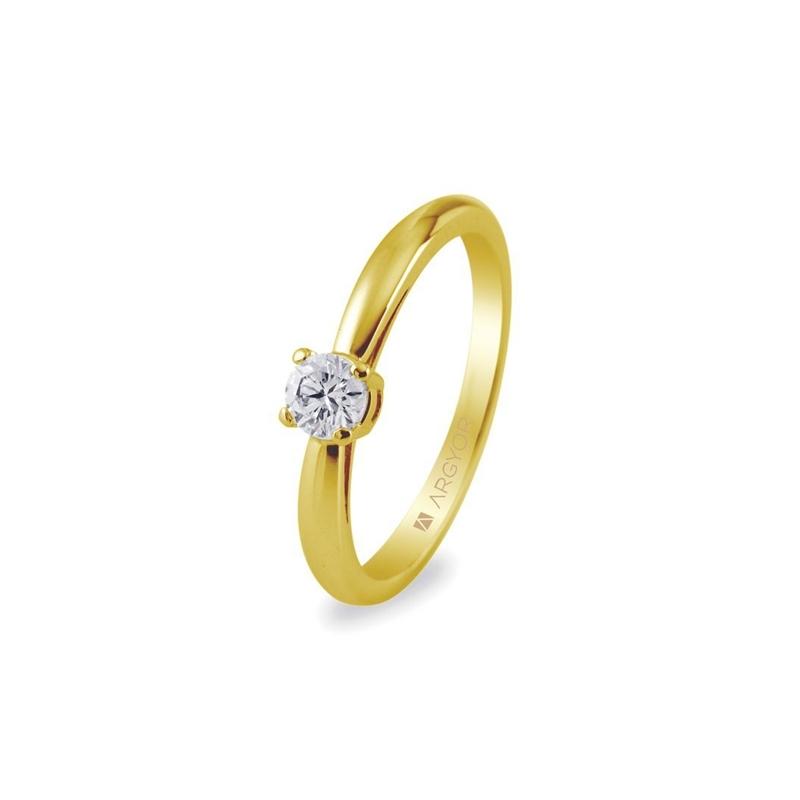Solitario de oro para mujer con diamante de 0,16 ct., de Argyor Compromiso.