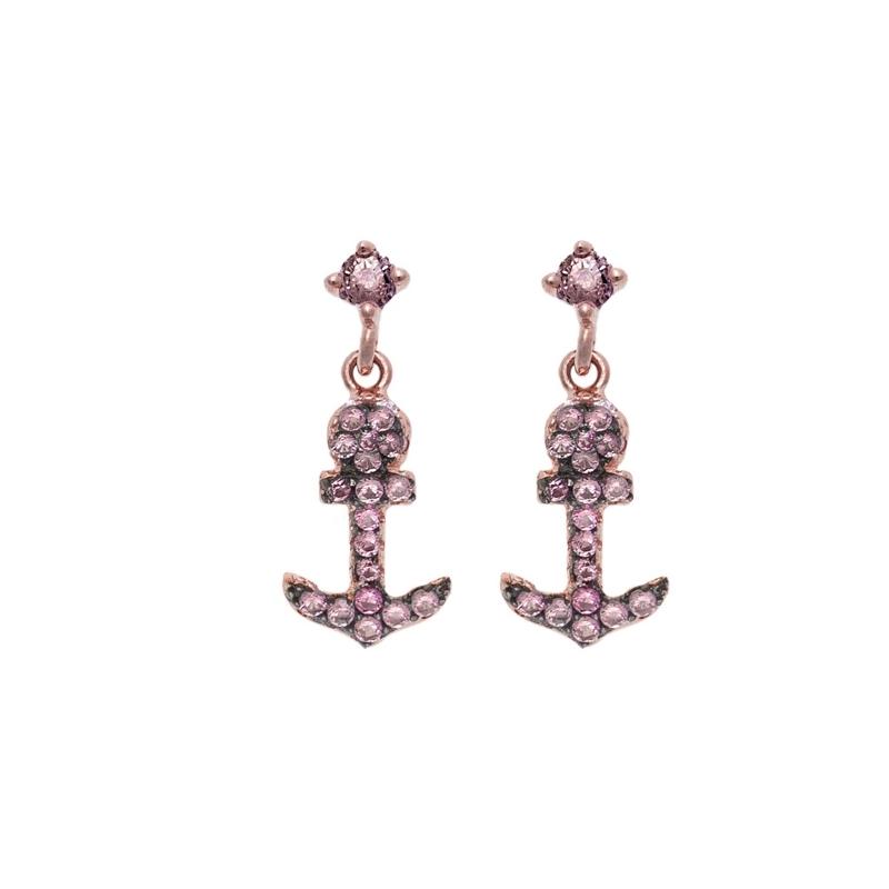 Pendientes de plata chapada con forma de ancla y circonitas rosas, de Salvatore Plata.