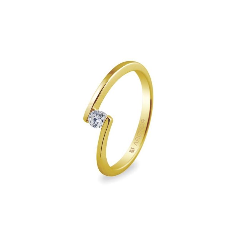 Anillo de oro amarillo de estilo moderno, con diamante de 0,10 ct., de Argyor Compromiso.