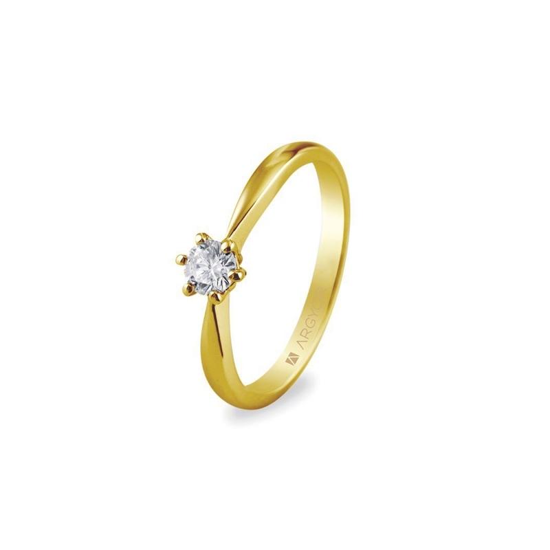 Solitario de oro amarillo con diamante de 0,25 quilates, de Argyor Compromiso.