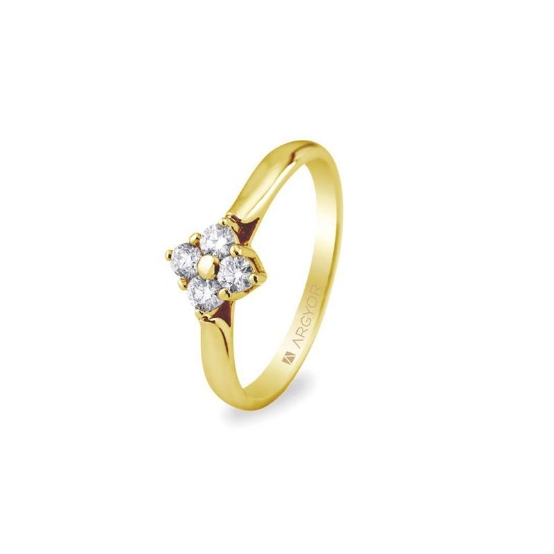 Anillo de oro amarillo y roseta sencilla de diamantes, total 026 ct., de Argyor Compromiso.